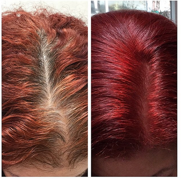 before after red hair